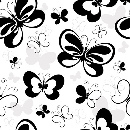 Seamless white pattern with silhouettes butterflies Vector