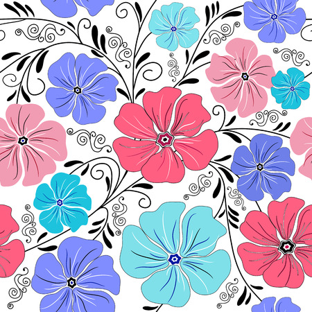 handwork: Seamless floral pattern with handwork curls and flowers