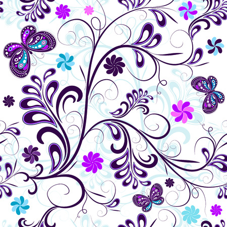 carved: Seamless floral pattern with butterflies and flowers  Illustration