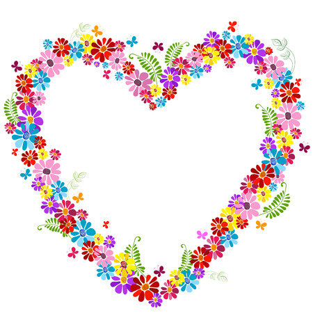 quivering: Decorative heart from colorful flowers on white background