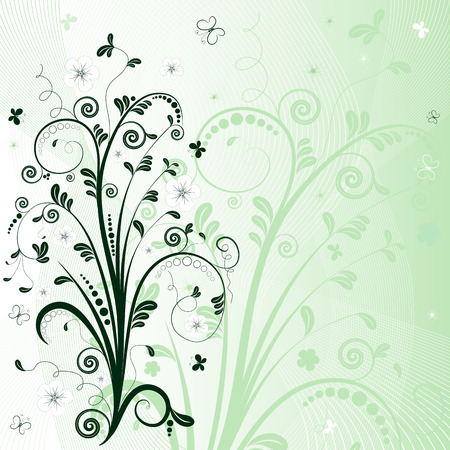 lattice frame: Gentle green abstract floral background  with  butterflies