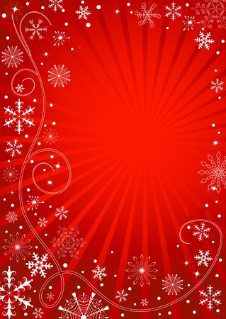 Abstract christmas red frame with rays and snowflakes Vector