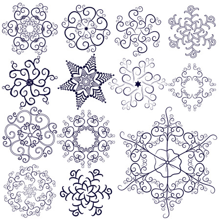 Collection of new snowflakes Vector