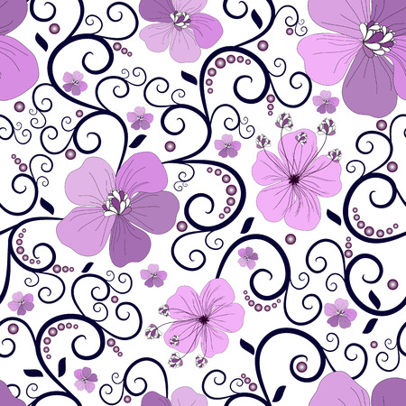 handwork: Seamless floral pattern with curls and flowers