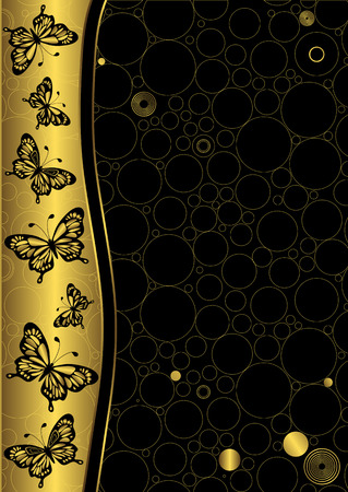 Decorative black and golden background with butterflies Vector