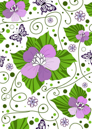 lilas: backdrop, background, carved, circle, crack, crossing, curl, decoration, decorative, design, floral, flower, foliage, graphic, handwork, illustration, image, leaf, lilas, butterfly, painted, pattern, pink, point, repeating, seamless, spring, vintage, viol Illustration