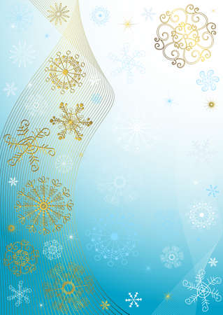 Abstract christmas blue frame with white and golden snowflakes and lines (vector) Vector