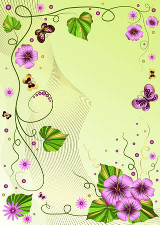 Decorative green floral  frame with garland and  butterflies Vector