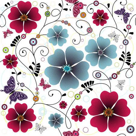 carve: Patr�n floral transparente con ondulaciones, mariposas y bolas