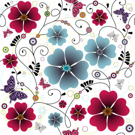 Seamless floral pattern with curls, butterflies and balls Illusztráció