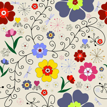 chaotic: Seamless floral pattern with chaotic  flowers, butterflies and dragonflies Illustration