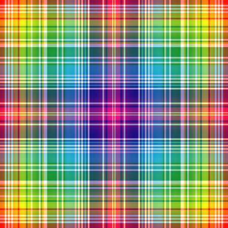 Seamless rainbow checkered pattern with white strips Vector