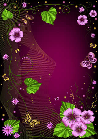 Decorative dark violet floral  frame with garland and  butterflies  Vector