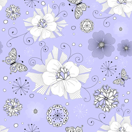 harmonious: White and black seamless floral pattern with curls and  butterflies  (vector)