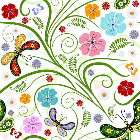 handwork: Seamless floral white pattern with handwork flowers and butterflies