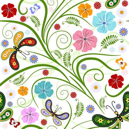 trabajo manual: Transparente patr�n blanco floral con alisado flores y mariposas