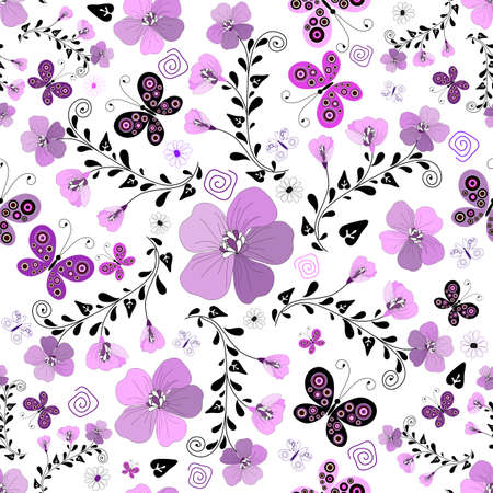 lilas: Seamless floral white pattern with violet flowers and butterflies  Illustration