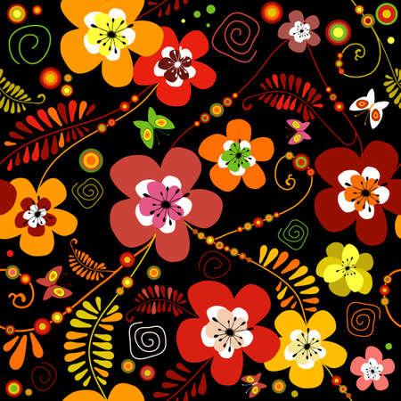 motley: Motley seamless black flower pattern