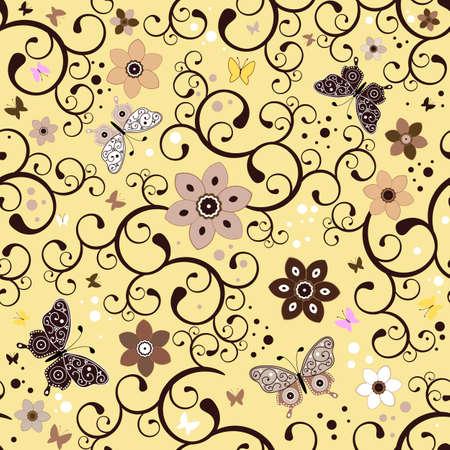 trabajo manual: Patr�n de amarillo floral transparente con alisado flores y mariposas