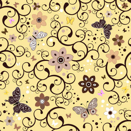 handwork: Seamless floral yellow pattern with handwork flowers and butterflies Illustration