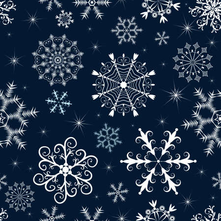 Dark blue winter pattern with white and blue snowflakes and stars. Vector