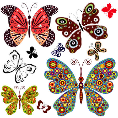fantasy: Set abstract butterflies for design
