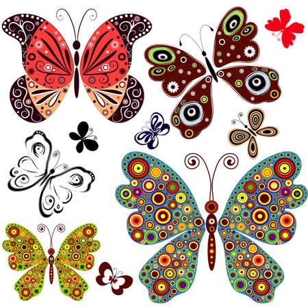 Set abstract butterflies for design Vector