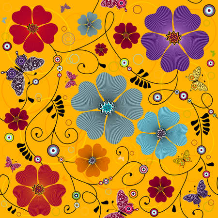 Seamless yellow floral pattern with curls and butterflies  Vector