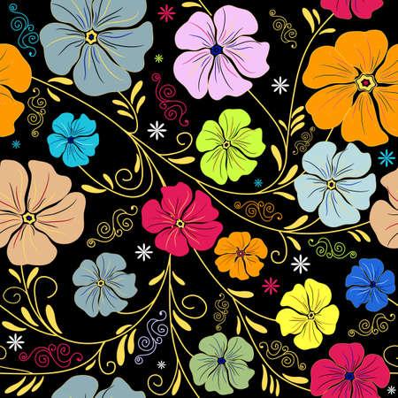 trabajo manual: Patr�n floral transparente con alisado coloridas flores  Vectores