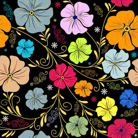 handwork: Seamless floral pattern with handwork colorful flowers