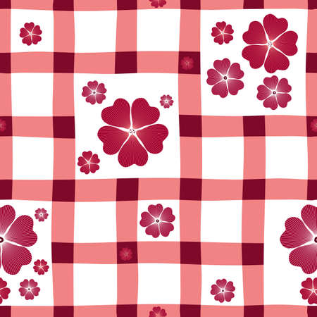 handwork: Red-white floral seamless pattern in a section