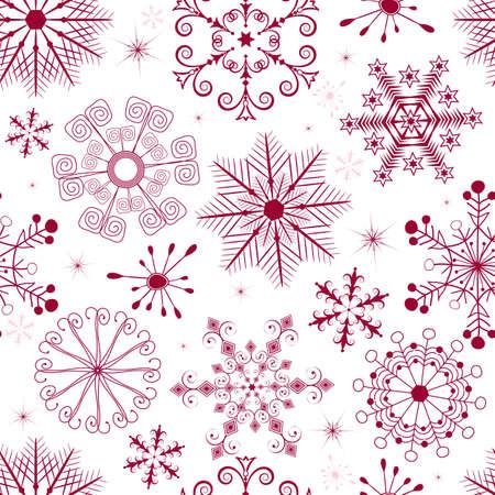 imposing: Modello di Natale bianco senza saldatura con fiocchi di neve rossi e rosa