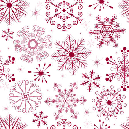 Seamless white christmas pattern with red and pink snowflakes  Vector