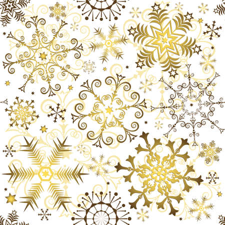 Seamless white christmas pattern with golden snowflakes