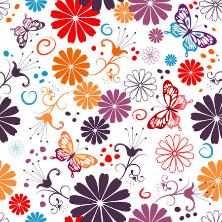 lilas: Seamless floral white pattern with flowers and butterflies