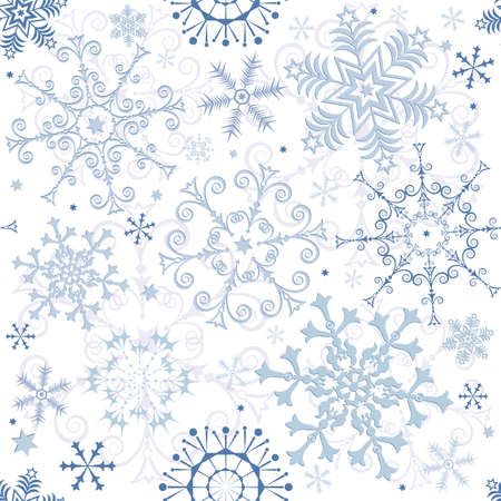 Seamless white-blue pastel christmas pattern Vector