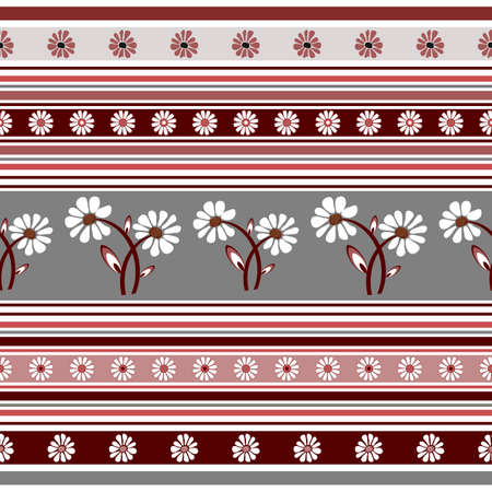 Seamless floral pink-white-grey striped pattern with flowers application