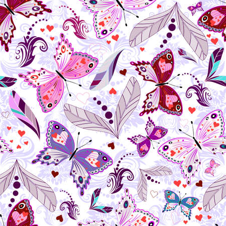 White seamless floral valentine pattern with hearts and butterflies  Vector