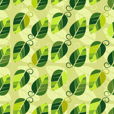 leafage: Floral seamless pattern with green-yellow leaves  Illustration