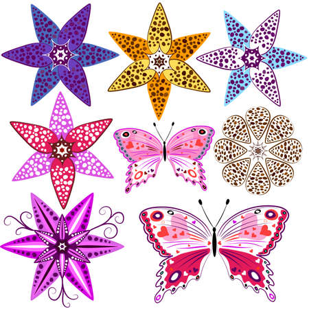 Set abstract isolated flowers and butterflies for design on white  Vector