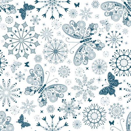 Seamless white christmas pattern with blue snowflakes and butterflies