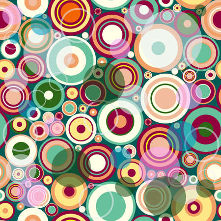 Abstract seamless pattern with colorful balls and rings  Vector
