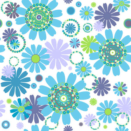 lilas: White seamless floral pattern with flowers and colorful circles