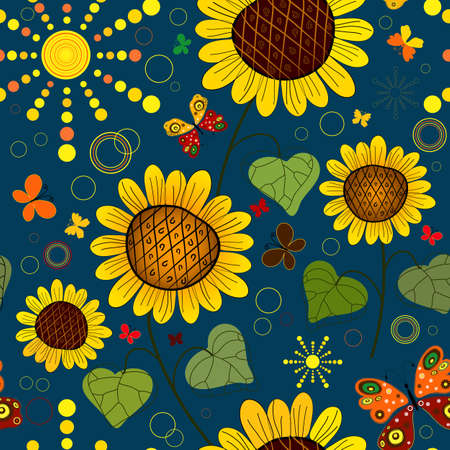 Seamless floral dark blue summer pattern with sunflowers, the sun and butterflies  Vector