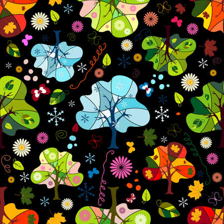 Seamless floral dark pattern with trees, flowers and butterflies Stock Vector - 7615608