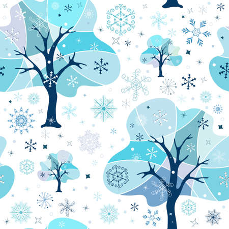 Seamless white-blue winter pattern Vector