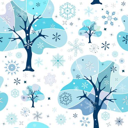 Seamless white-blue winter pattern Vector