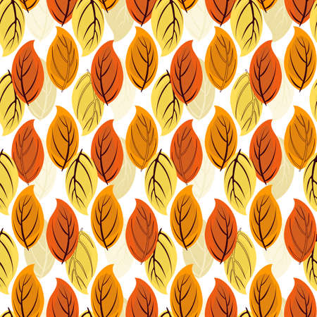 Floral seamless autumn pattern with orange-yellow leaves  Vector