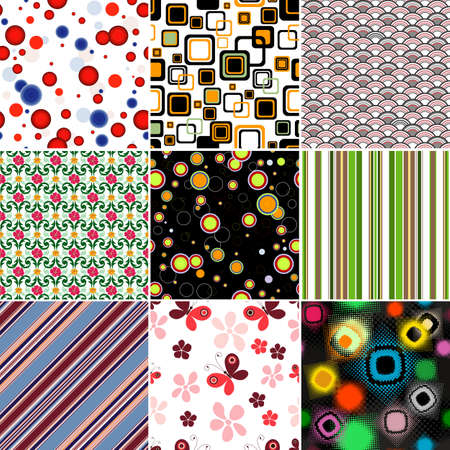 Collection geometric and floral colorful seamless patterns  Vector