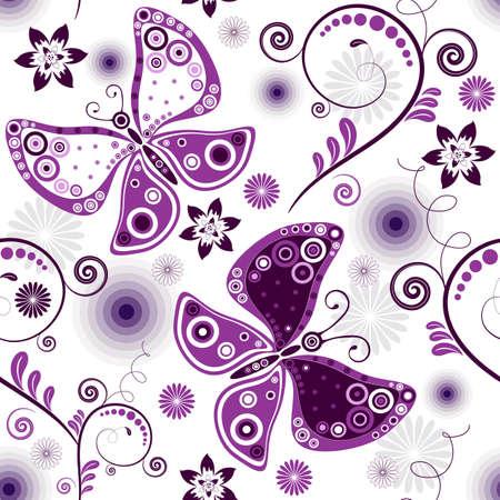 carve: Floral patr�n blanco con flores de color violetas y mariposas de repetici�n